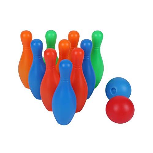 Toyvian 1 Set Kinder Kegelspiel Bowlingspiel mit Bowlingkugel Bowling Kegel Outdoor Spielzeug für Kinder Geschenk
