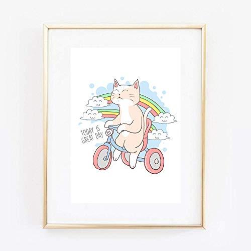 Kunstdruck Din A4 ungerahmt - Today is a great day - Spruch Motivation Katze Fahrrad Comic Style Manga Anime, Druck, Poster, Bild