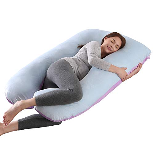 SHANNA Almohada de Embarazo, Almohada de Cuerpo Completo con Forma de U Grande, 100% algodón con Funda de Terciopelo reemplazable y Lavable para Dormir y Alimentar, 70 x 145 cm Gris (Azul+Púrpura)