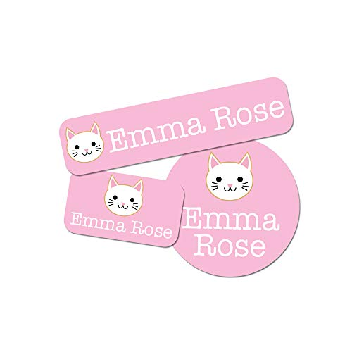 Custom Girl Combo Label Pack (88 ct.) - Waterproof Name Stickers - Stick-On & Easy to Apply (Cat)