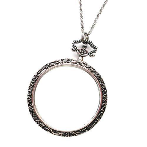 Ioouooi 10X Tragbare Lupe Anhänger Halskette, Metall Lupe, Dekorative Halskette Für Lesen Münzen Schmuck Handwerk