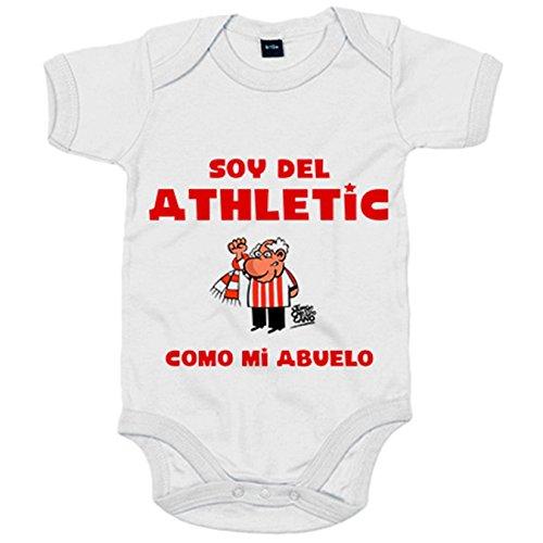 Body bebé soy del Athletic como mi abuelo Jorge Crespo Cano - Blanco, 6-12 meses