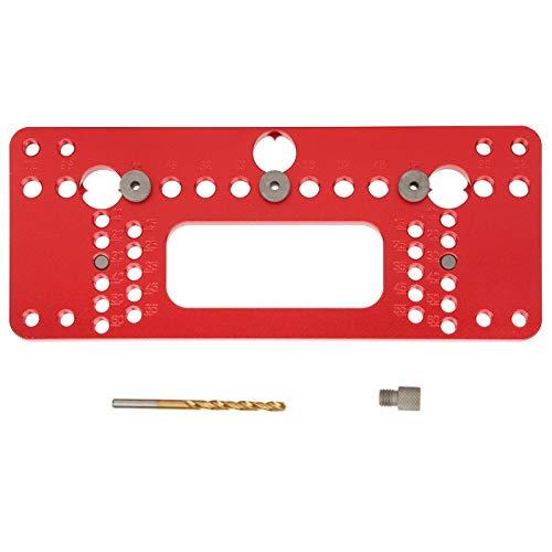 Localizador de plantillas de orificios para manijas de carpintería, guía de perforación de aleación de aluminio, herramientas de carpintería de guía de perforadoras para abridor de orificios(rojo)