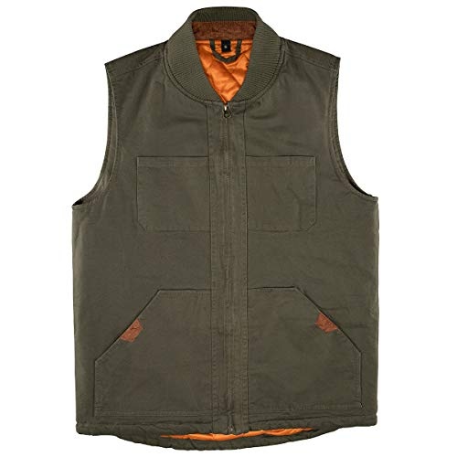 Men's Quilted Lined Vest Washed Canvas Winter Warm Outdoor Hunting Work Utility Travel Vest Jacket Army Green X-Large