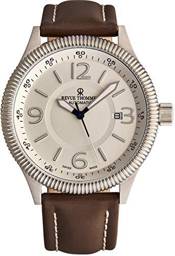 Revue Thommen Pilot 17060.2528 - Reloj automático para hombre (esfera plateada, manecillas luminosas, fecha y cristal de zafiro y correa de piel marrón