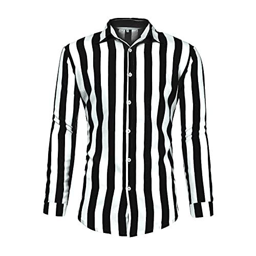 QEERT Camisa de manga larga para hombre, diseño de rayas verticales, corte estrecho, informal, para negocios, con botones, para el tiempo libre, Negro , XL