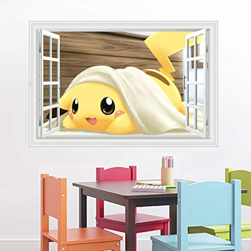 Cartoon Pokémon Pikachu 3D Falsches Fenster Wandtattoo Wandaufkleber Stereo Wandsticker Deko Kinder 60 x 90 cm