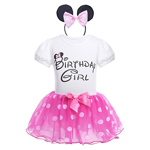 iiniim Conjunto de Disfraz Body de Algodón + Falda + Diadema Vestido Tutú Princesa Lunares de Organza Cumpleaños Disfraces Navidad Fiesta Cosplay para Bebé Niña (1-4 Años) Rosa Oscuro 12-18 Meses