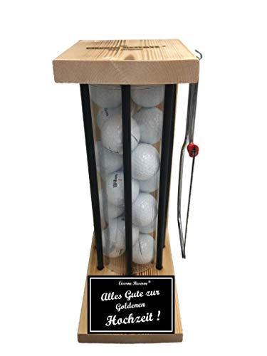 Alles Gute zur Goldenen Hochzeit - Die Eiserne Reserve ® Black Edition Golfer Geschenk incl. Säge & 20 Golfbälle - Golfergeschenk für Männer & Frauen