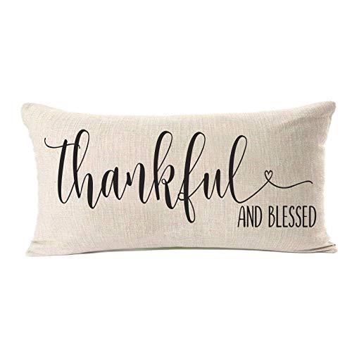 Belle10Bob Fundas de almohada con texto en inglés «Thank ful and Bless» de 12 x 20, decoraciones de Acción de Gracias, fundas de cojín para sofá, regalos de Acción de Gracias