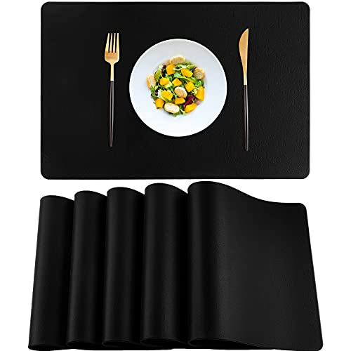 Ruisita 6 Pieces Leather Placemat Heat Resistant Waterproof Table Mats Kitchen Dining Placemat for Kitchen Dining Conference Table, Black