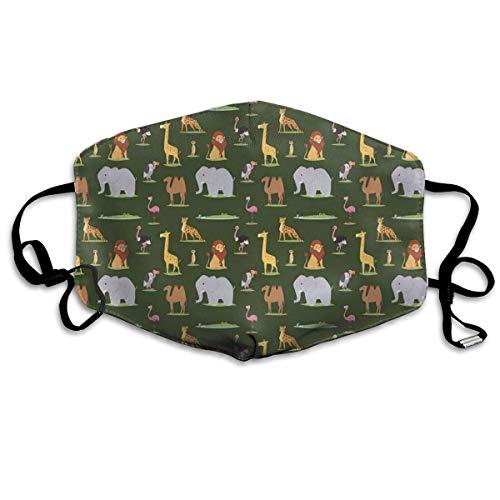 Bequeme Winddichte Maske, Tiere des dunklen Kontinents Giraffe Leopard Elefant und Kamel pädagogische Karikatur für Erwachsene