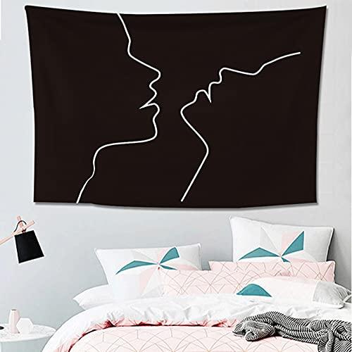 NTtie Tapiz, decoración de Dormitorio, Alfombrilla para Yoga, Toalla para Playa, Decoración de Pared de línea de Personalidad en Blanco y Negro.