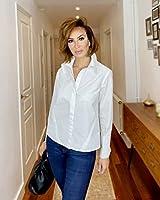 The Drop Camisa para Mujer Abotonada de Puño Doble, Blanco, por @sabthefrenchway,S