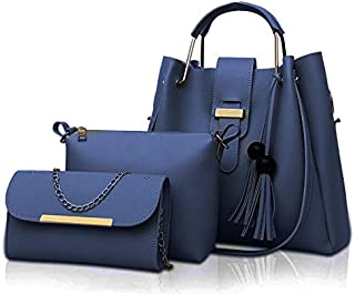 Fargo Women's PU Leather Handbag And Sling Bags Combo Of 3 (NAVY BLUE_FGO-224)