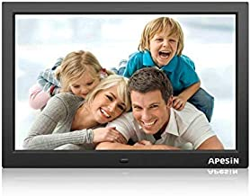 Digital Picture Frame, APESIN 15.4 Inch HD Screen Motion Sensor(Black)