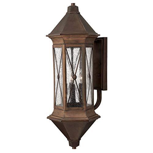 Lámpara de pared marrón de latón auténtico grande 74 cm de alto rústico IP44 lámpara para exterior casa terraza puerta balcón