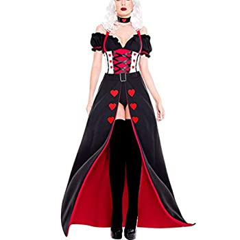 Women Queen of Hearts Halloween Costume V-Neck Off Shoulder Ruffles Party Prom Clothes with Hairband  L Black