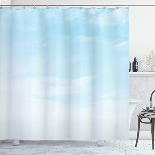 ABAKUHAUS Hellblau Duschvorhang, Weiche Pastell Himmel-Wolken, Seife Bakterie Schimmel & Wasser Resistent inkl. 12 Haken & Farbfest, 175x180 cm, Hellblau