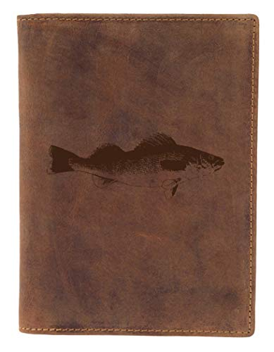 Greenburry Leder-Ausweismappe mit Fisch Motiv I Leder Dokumentenmappe für Angler Ledermappe - 16,5x1,5x12cm