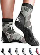 BPS 'Second Skin' Sport Skin Socks - Quick-Dry and Anti-Slip Socks - for Wet Suit, Sand Playing, Tide Pooling, Scuba Diving, Wading, Fishing - High Cut Socks (Grey Camouflage, Large)