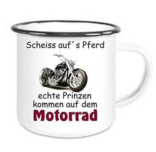 Crealuxe Emailtasse mit Rand Scheiss aufs Pferd - echte Männer kommen auf dem Motorrad - Kaffeetasse mit Motiv, Bedruckte Email-Tasse mit Sprüchen oder Bildern