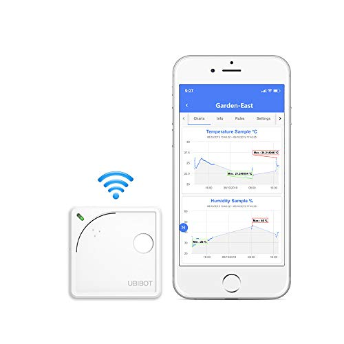 Ubibot WS1 WiFi Temperature Humidity Monitor, Wireless Thermometer Hygrometer, WiFi Data Logger with Free App Alarm, Refrigerator Temperature, Android and iOS App(2.4GHz WiFi,no hub Required, IFTTT)