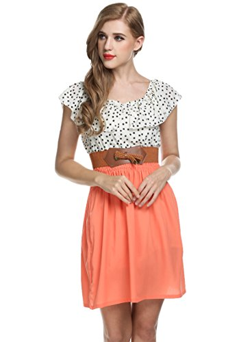 Zeagoo Damen Vintage Sommerkleid Punkt Partykleid Polka Dots O-Ausschnitt Minikleid mit Gürtel - 4