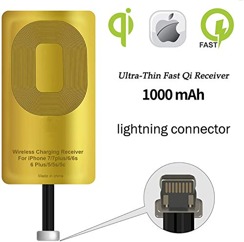 Qi Wireless Charger Receiver, Ultra Thin Wireless Charging Qi Receiver, Wireless qi Receiver Coil, for iPhone 5/ 5c/ SE/ 6/6 Plus/ 7/7 Plus