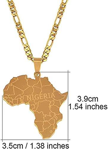 niuziyanfa Co.,ltd Collar Mapa de África con Nigeria Collares Pendientes Joyas de Color Dorado para Mujeres Hombres Mapas africanos Regalos de joyería Cadena de 45 cm x 3 mm para Mujeres Hombres