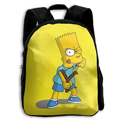 BAODANLE Kinderen Naughty Sim_psonss Waterdichte Duurzame Lichtgewicht Stoffen Bagage voor School Zwart