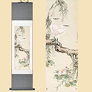 Features Chinese Style Silk Chinese Watercolor Flower Birds Inker Lotus Egret Willow Feng Shui Wall Picture Framed Damask Roller Painting On Canvas 100X30CM