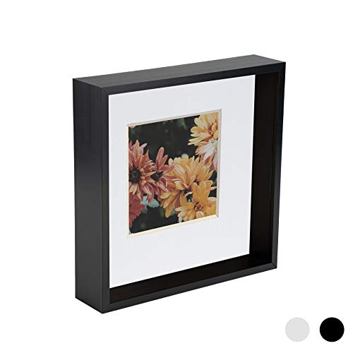 Nicola Spring 8 x 8 3D Shadow Deep Box Photo Frame - Craft Display Picture Frame with 4 x 4 Mount - Black