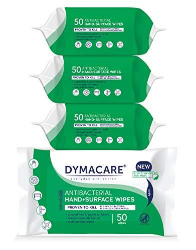DYMACARE Hand & Oberflächenreinigungstücher | Dermatologisch getestet | Schnelles säubern von Händen und Oberflächen aller Art (4 Packungen)