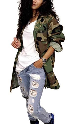 Womens Casual Plus Size Military Camo Printing Lightweight Coat Longline Overcoat Safari Jacket Party Clubwear Army Fatigue Jackets XXL