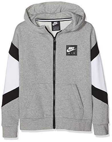 Nike Herren B Nk Air Fz Sportkapuzenpullover Grau (Dk Grey Heather/White Black 063), 128 (Herstellergröße: Small)