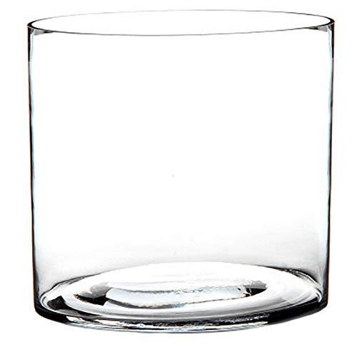 Jarrón Cilindrico de Cristal Transparente, Estilo Moderno Colocar Flores 20X20X20 cm.-Hogarymas-