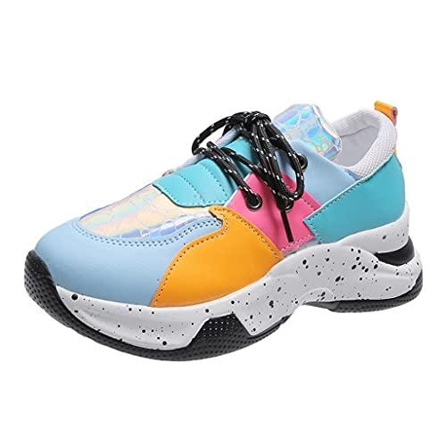Zapatillas de Mujer Deportivas Zapatos Casuales con Cordones Zapatillas Deportivas Plataforma Cuña Caminar Vestir de Cordones Cómodos Sneaker Zapatos de Cuero de PU
