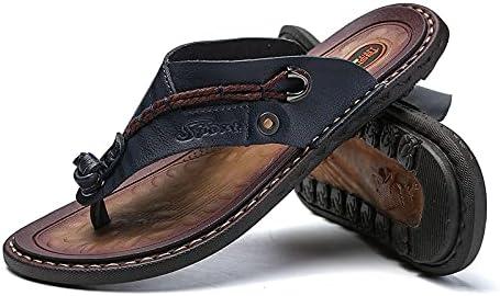 Men's outdoor flip-flop sandals, microfiber leather flip-flops beach shoes, handmade T-shaped sandals