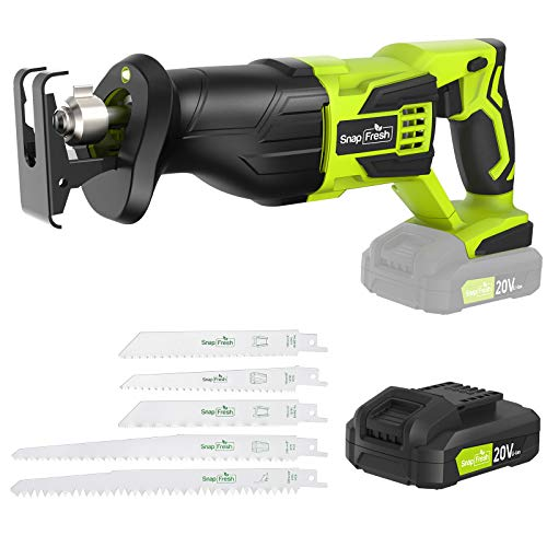 Cordless Reciprocating Saw - Fast Changing Saw Blades Reciprocating Saw Blades Wood & Metal Cutting, Electric Reciprocating Saw Cordless Tools 1 Hour Fast Charged (20V Li-Ion Battery&Charger Included)