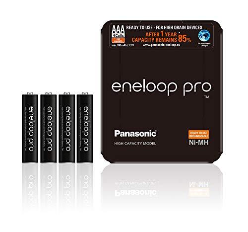 Panasonic eneloop, Ready-to-Use Ni-MH Akku, AAA Micro, 4er Pack, Storage Case, min. 930 mAh, 500 Ladezyklen, starke Leistung, wiederaufladbare Akku Batterie