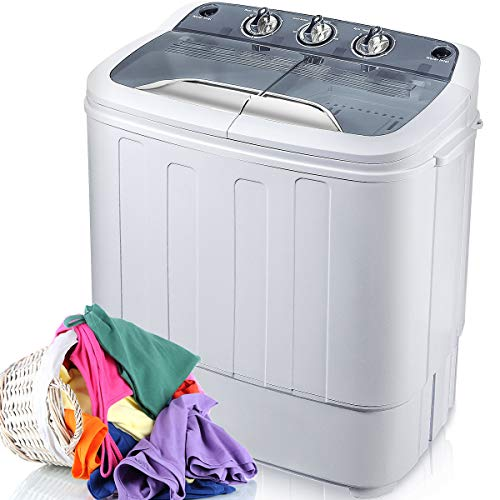 Merax Portable Washing Machine Mini Compact Twin Tub Washer Machine with Wash and Spin Cycle, FCC Verification Approved (Gray&White)