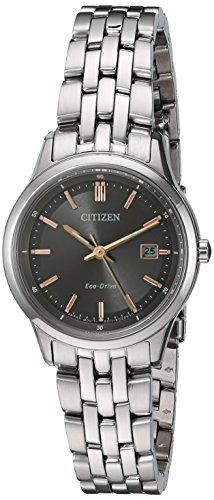Citizen Women's 'Eco-Drive Bracelet' Quartz Stainless Steel Watch, Color:Silver-Toned (Model: EW2400-58H)
