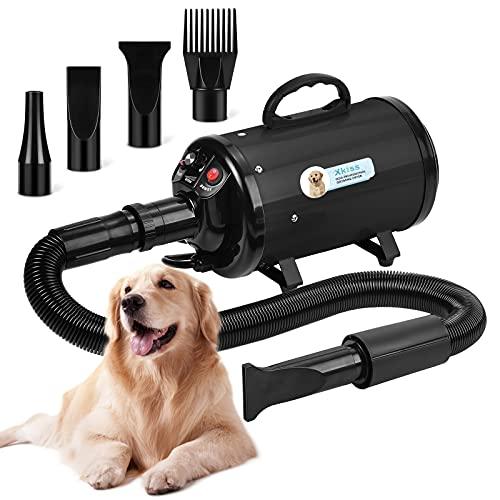 XKISS Soffiatore per Cani 3.2 PS / 2800 W Asciugatrice per Cani Continua con velocità e Temperatura Regolabile Asciugacapelli per Animali Domestici,Grooming Cane Animali,con 4 Accessori (Nero)