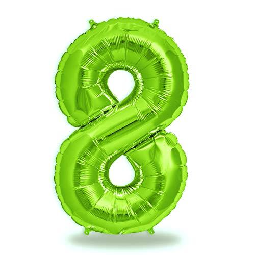 FUNXGO® Folienballon Zahl in Grün - XXL / ca.100cm Riesenzahl Ballons - Folienballons für Luft oder Helium als Geburtstag, Hochzeit , Jubiläum oder Abschluss Geschenk, Party Dekoration (Grün[8])