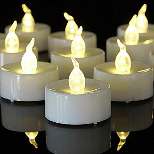 BiYaNuo LED Teelichter,100 Stück LED Kerzen CR2032 Batterie betrieben Kerzen flammenlose Teelicht,Weihnachten Hochzeit oder anderen Gelegenheiten weit verbreitet sein(warmes Gelb 100pcs)