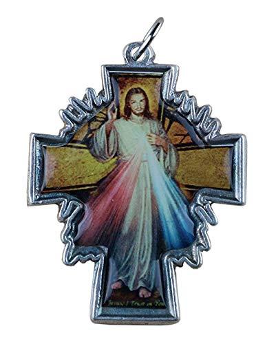Eurofusioni Jesús de la Divina Misericordia Colgante Crucifijo chapea