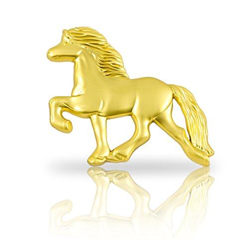 steev Isländer Pferde-Figur Hemlir - Tölter für Auto-Kühlergrill, Boxentür, Wand, u.v.m. Das Original (Gold)