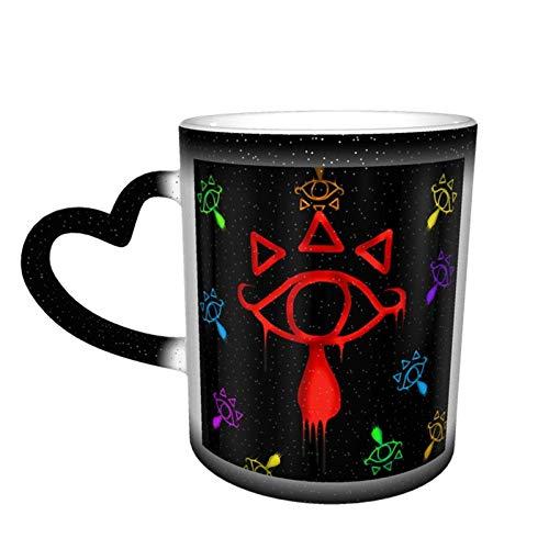 Legend of Zelda Breath of The Wild Sheikah Taza que cambia de color de ojos Gran diseño de taza de café Taza de cerámica sensible al calor, 11oz-U3