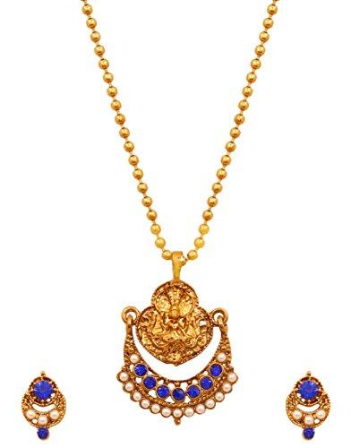 Touchstone Indische Bollywood-Kunstperlen blau Saphir Tempel Schmuck Anhänger Set für Damen Blau